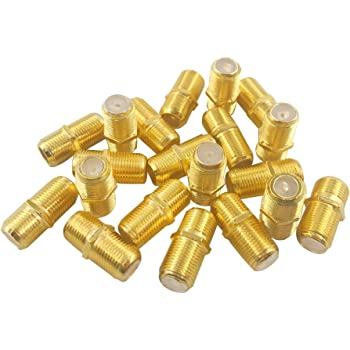MCIGICM Gold Plated F-Type Coaxial RG6 Connector Cable Extension Adapter Gold 20 Pcs