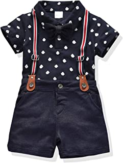 Toddler Boys Clothing Set Gentleman Outfit Bowtie Polo Shirt Bid Pants Overalls