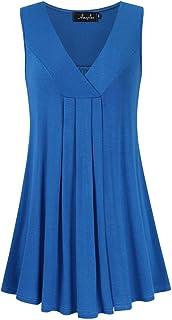 AMZ PLUS Women's Plus Size Flowy Tops V-Neck Loose Blouse...