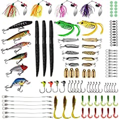 🎣 PLUSINNO fishing tackle set collects nearly all accessories including fishing lures, hooks, Jig Head, Weights Sinker, Line Stopper, Barrel Swivel, Free Tackle Box, an overall fishing lures kit for saltwater and freshwater, Perfect for ocean, lake, ...