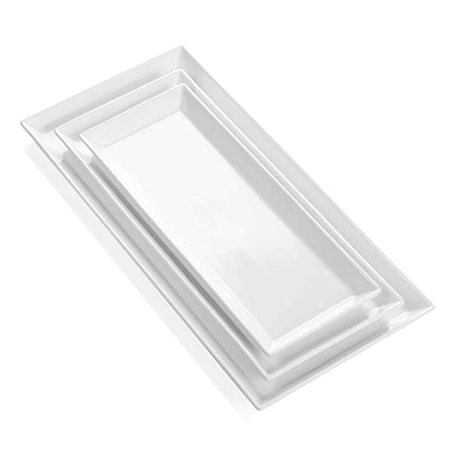 Sweese 706.101 Porcelain White Platters, Rectangular Serving Trays for Dinner, Dessert, Appetizers and Party With 3 Sizes - Set of 3