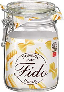 Bormioli Rocco 292075 Fido Storage Jar-Wire Bail-1 L-1 Pack, 1 liter, Clear