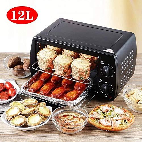 ZFDM Elektrischer Ofen mit 12 l, 220 V, Pizza, für Backofen, Hühnerflügel, Temperaturkontrolle, 3 Lagen Position, multifunktional, energiesparend schwarz