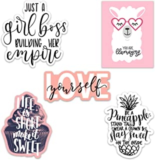 Cute Girl Inspirational/Motivational Quote Aesthetic Vinyl Stickers for Laptops and Water Bottles (Inspirational Quotes)