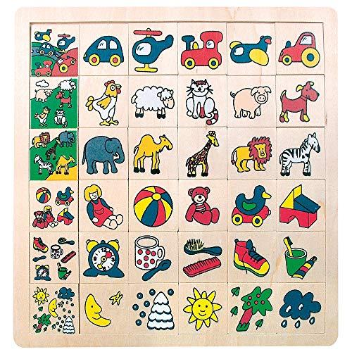 Bino & Mertens 84079 Bino Legepuzzle was gehört wohin, Spielzeug für Kinder ab 3 Jahre (Kinderspielzeug Teilen, Holzspielzeug mit 36 Motiven, Motorikspiel für kleine Entdecker), Mehrfarbig