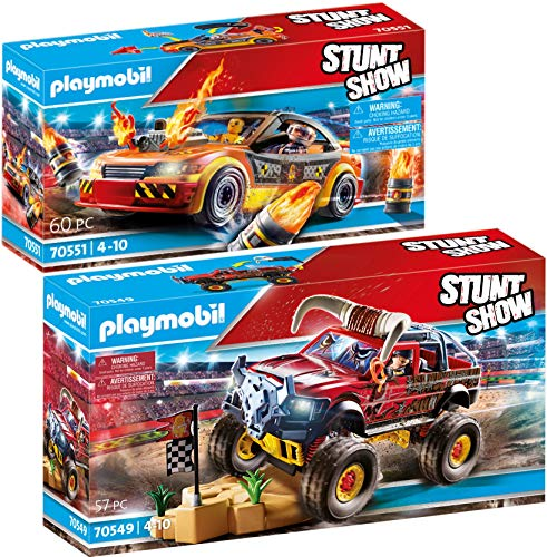 PLAYMOBIL Stuntshow Juego de 2 Piezas 70549 70551 Monster Truck Horned + Crashcar