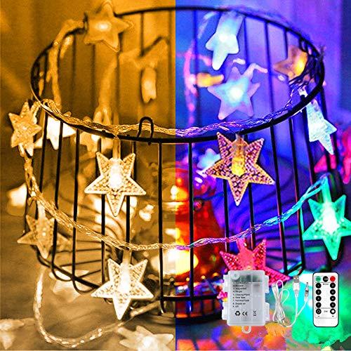 Stern-Lichterkette, 7 m, 50 LEDs, USB- oder batteriebetrieben, bunte 8 Modi, Stern-Lichterkette mit Fernbedienung und Timer, für Garten, Zuhause, Hochzeit, Party, Innen- und Außenbereich