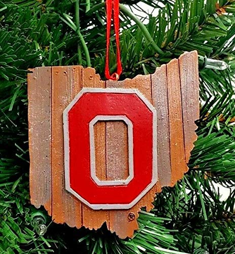 Ohio State Buckeyes Wood State MAP Logo Resin Ornament 4'