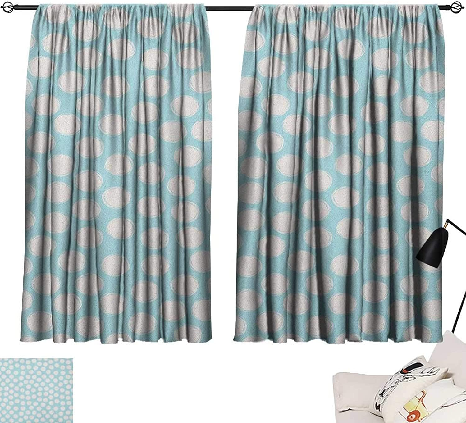 Warm Family Kids Sliding Curtains Doodle Style Spots on a Pale bluee Background Artistic Boys Kids Baby Pattern Suitable for Bedroom Living Room Study, etc.55 Wx63 L Pale bluee and White