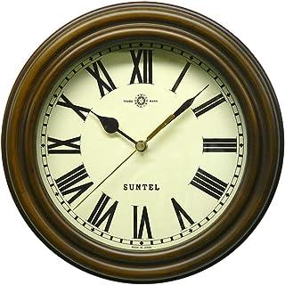 さんてる 日本製 レトロ電波時計 (ろくろ) アンティークブラウン (ローマ文字) SR14-R