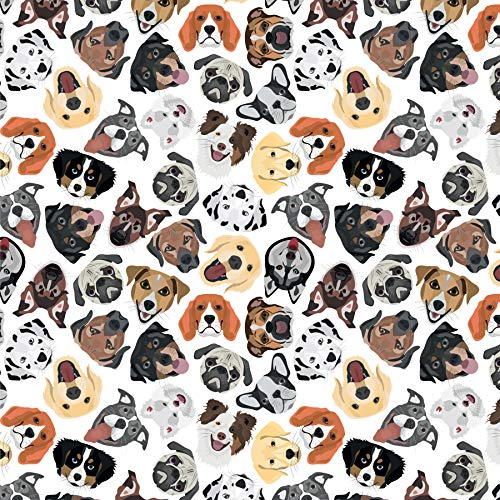 Dog Wrapping Paper - Puppy Gift Wrap - Folded Flat 30 x 20 Inch (3 Sheets)