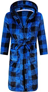 Kids Robe Soft Fleece Hooded Bathrobe Sleepwear for Girls Boys (Blue/Black, 8 Years)