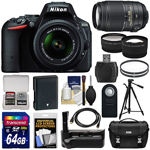 Nikon D5500 Wi-Fi Digital SLR Camera & 18-55mm G VR DX II (Black) & 55-300mm VR Lens + 64GB Card + Battery + Grip + Case + Tripod + Tele/Wide Lens Kit