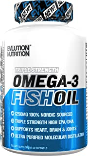 Evlution Nutrition Omega 3 Fish Oil 1250mg, HIGH EPA 450mg, DHA 300mg Triple Strength, Capsules (60 Servings)