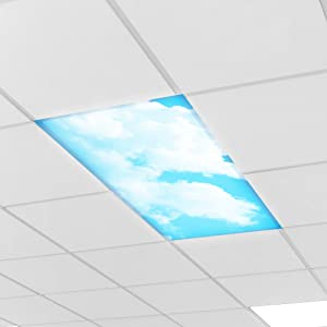 Educational Insights Calming Clouds Light Filters 4-Pack, Reduce Glare & Flicker, Easy Setup for Office, Hospitals, Home & Classrooms