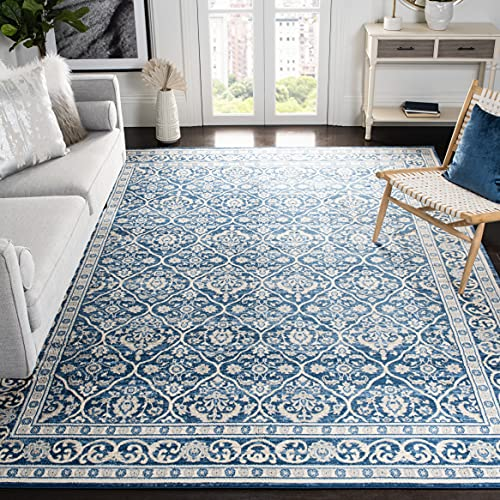 Safavieh Brentwood Collection BNT870M Oriental Damask Trellis Non-Shedding Stain Resistant Living Room Bedroom Area Rug, 6' x 9', Navy / Light Grey