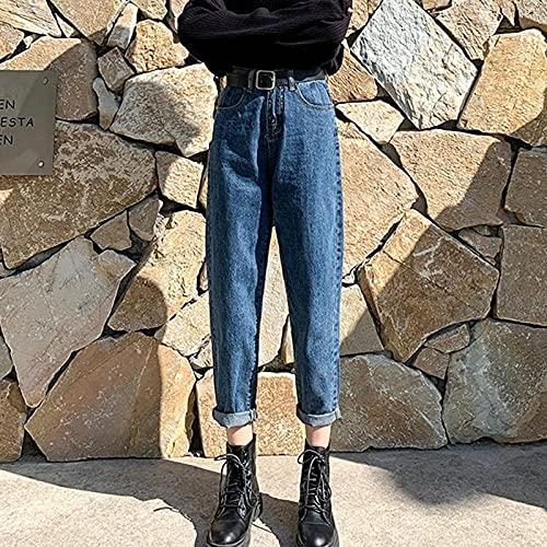 QXXKJDSjeans Vår/Sommar Fashion 9-Point Straight Jeans Kvinnors Storlek Hong Kong Style Hög Midja Slim Fat Loose Joker Byxor jeans (Color : Blue, Size : XXL)