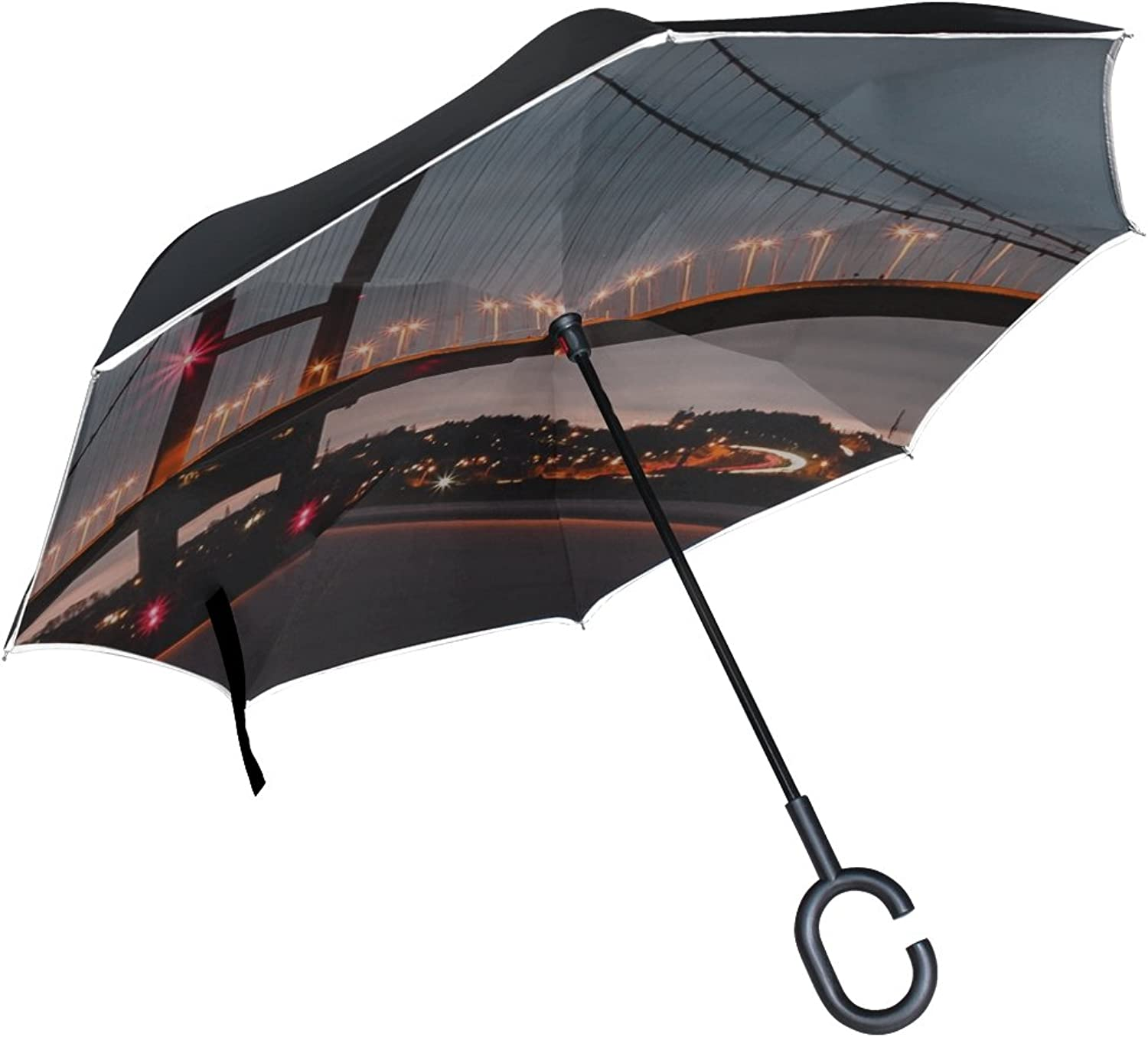 Rh Studio Ingreened Umbrella golden Gate Bridge Night Ingreened Umbrella Large Double Layer Outdoor Rain Sun Car Reversible Umbrella
