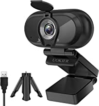 Webcam with Microphone, UOKIER 1080P HD Webcam, USB 3.0, Plug and Play, 30fps, Streaming Camera with Tripod, Desktop or La...