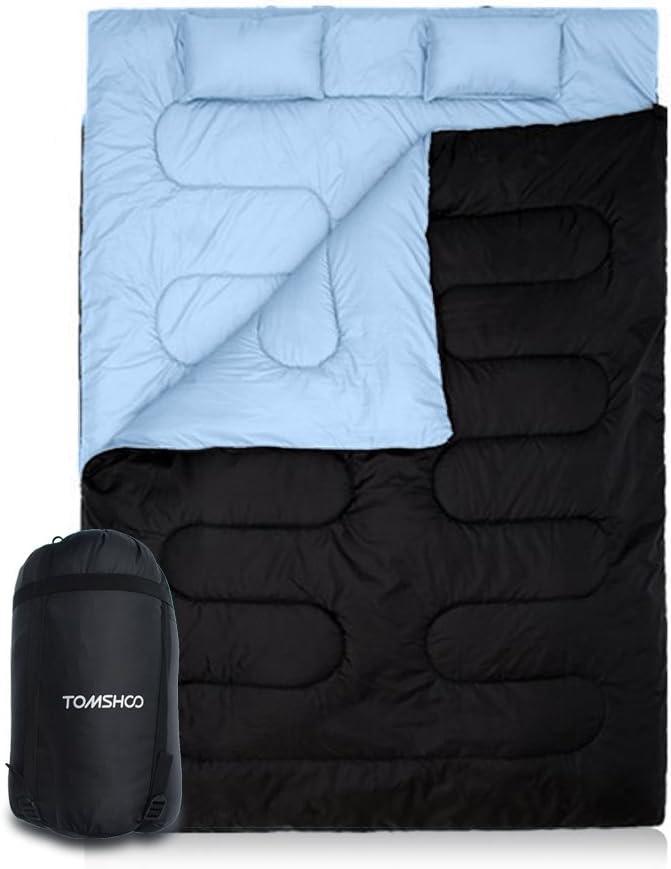 195 opinioni per ToMSHOO- Sacco a pelo a 2 posti per campeggio, 220 x 152 cm, doppio staccabile,