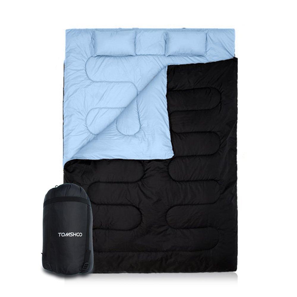 TOMSHOO Saco de Dormir de 2 Personas 210 * 152cm Doble Saco de Dormir con 2 Cojines Al Aire Libre -5℃ ~ 10℃ para Verano y Otoño: Amazon.es: Deportes y aire libre