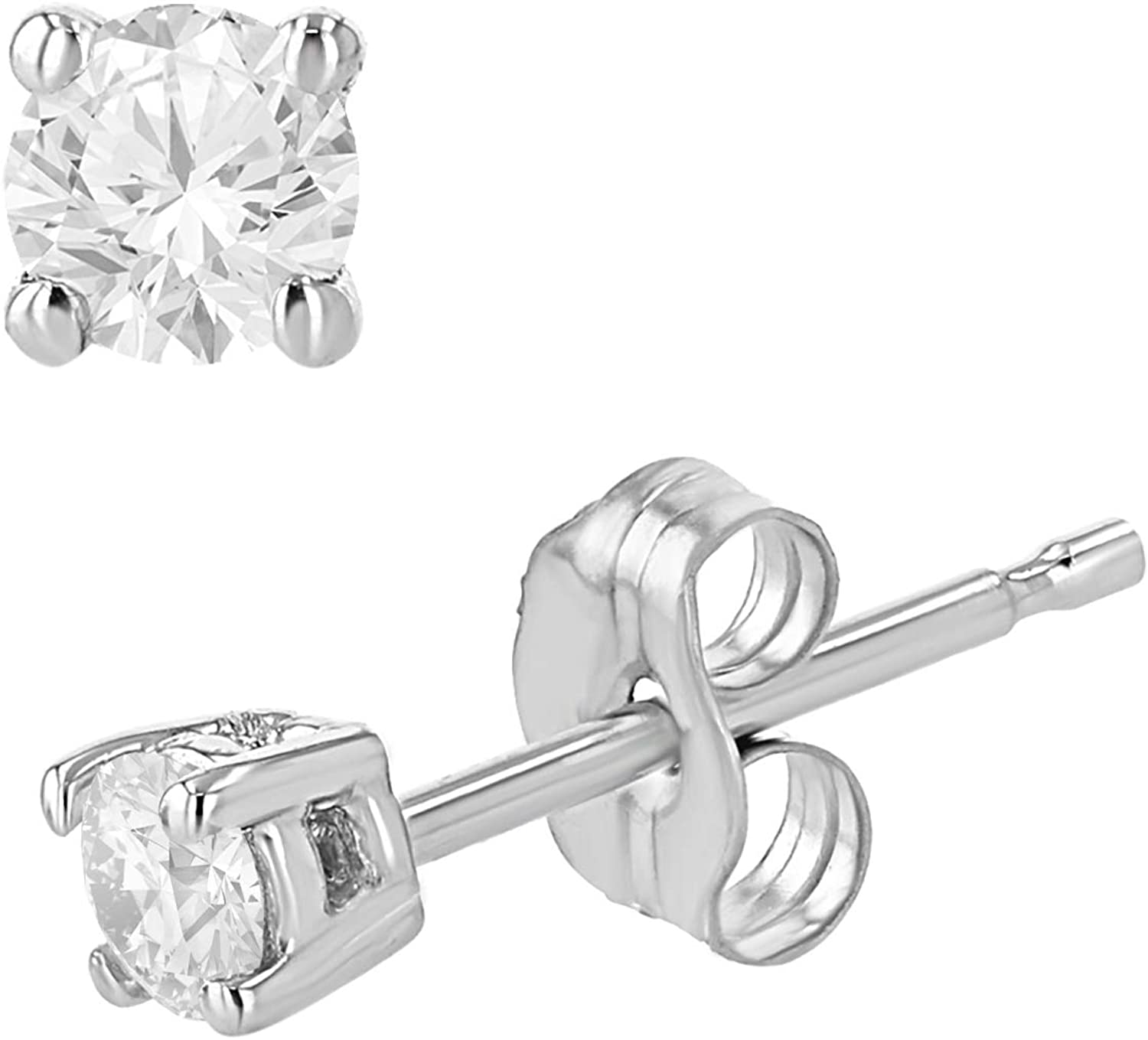 0.15 Carat Total Weight Round Diamond in for Women Stud Earrings Over item handling sale ☆