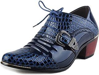 パテントレザー メンズビジネスカジュアルオックスフォードシューズ追加かかとワニテクスチャプリントミラーメタルバックル装飾英国スタイルレースアップ尖った靴 フォーマルドレス ドレスシューズ (Color : 青, サイズ : 25 CM)