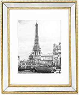 Isaac Jacobs 11x14 (Matted 8x10) Gold Mirror Bead Picture Frame - Classic Mirrored Frame with Dotted Border Made for Wall Display, Photo Gallery and Wall Art (11x14 (Matted 8x10), Gold)