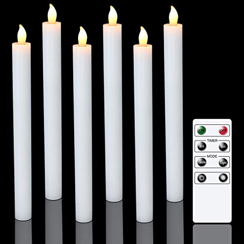 2021 Eldnacele Flameless Window online sale Taper Candles with Remote Timer, White LED Flickering Tapered lowest Candles Battery Operated Set of 6 for Christmas Party Home Wedding Decoration online