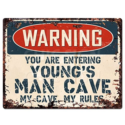 WARNING YOU ARE ENTERING YOUNG'S MAN CAVE Chic Sign Vintage Retro Rustic 9'x 12' Metal Plate Store Home Room Wall Decor Gift