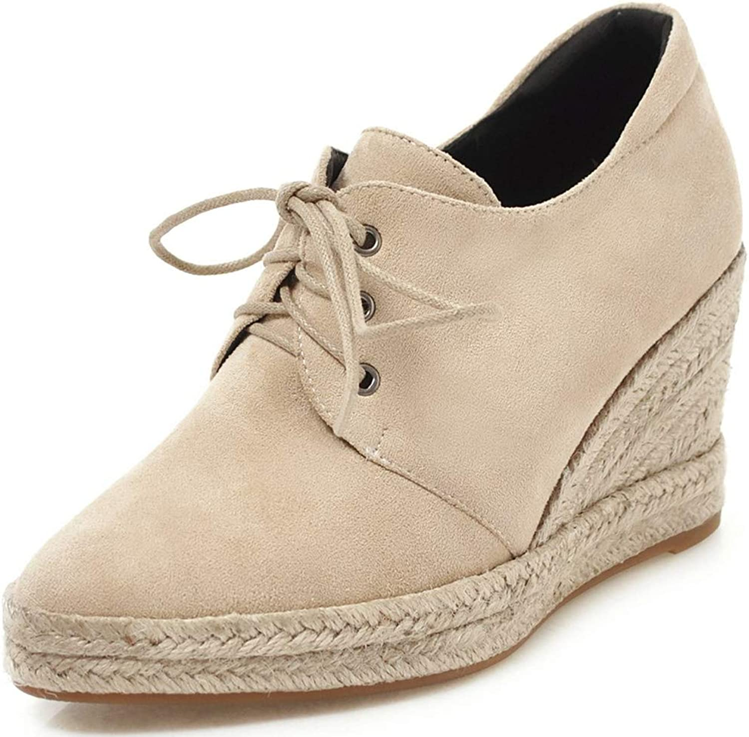 SaraIris Women's Fashion Espadrilles Wedge Heel Lace up Autumu Spring Ankle Booties