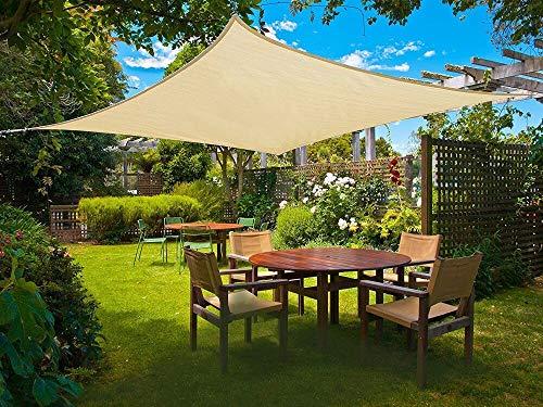 Sunnylaxx Tenda A Vela Rettangolare 4 X 5 Metri, Vela Ombreggiante Impermeabile E Resistente Per Giardino, Balcone & Terrazza, Colore Sabbia