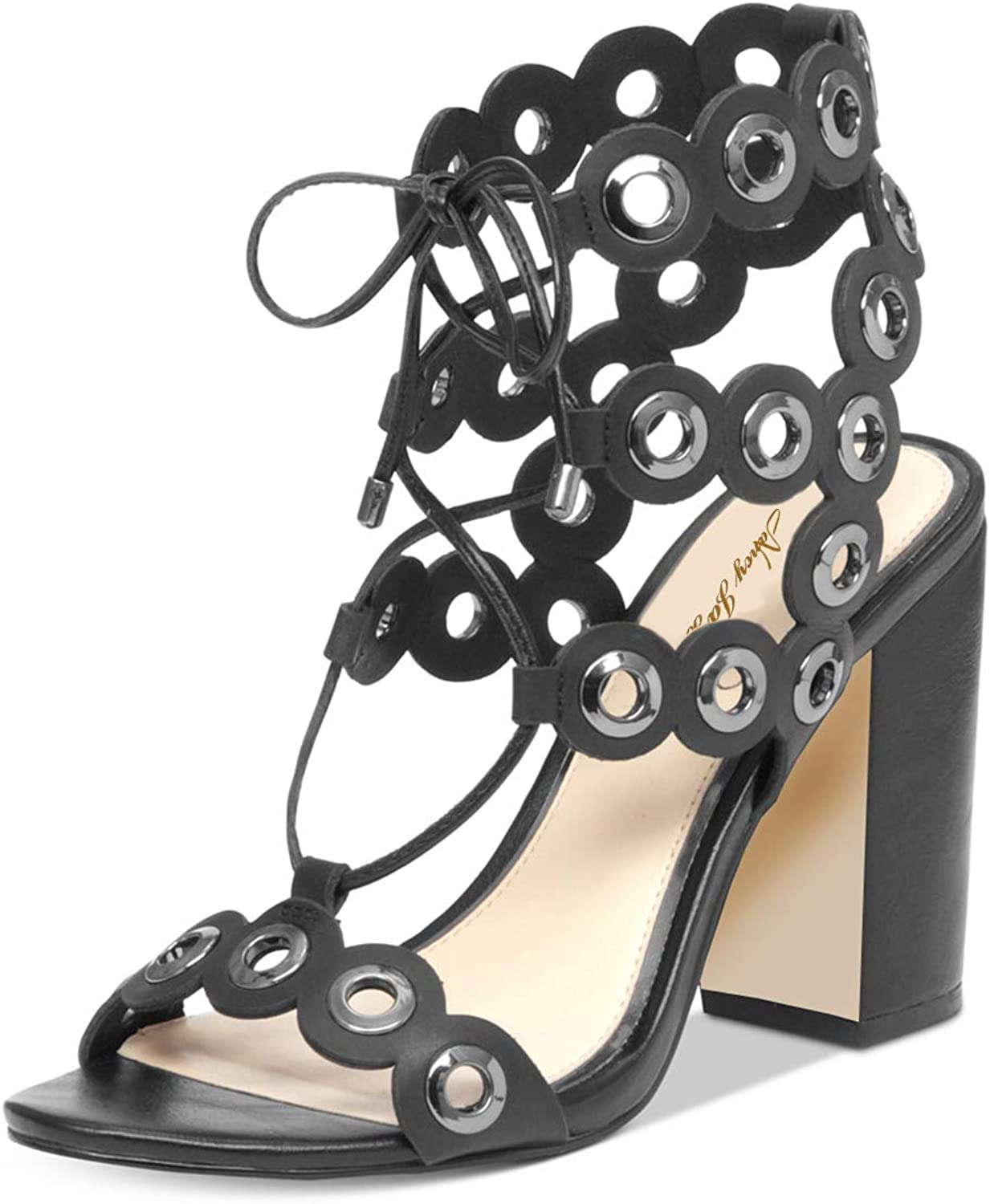 NJ Women Stylish Ankle Strap Lace Up Sandals Open Toe Chunky High Heels Party Pumps shoes with Metal Rings