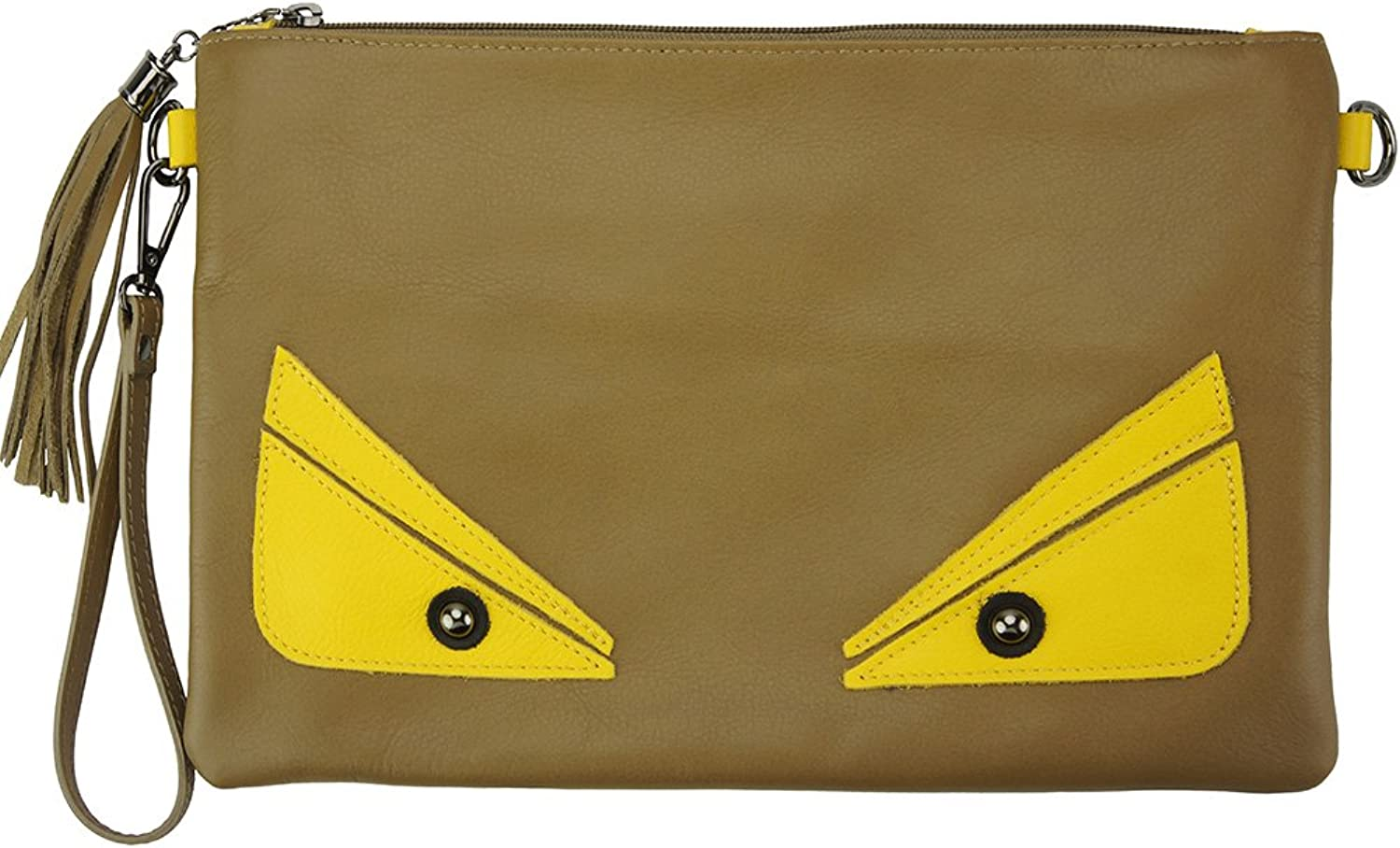 Florence Leather Market TEODORA CLUTCH AUS KALBSLEDER MADE MADE MADE IN ITALY 6128 (Dunkelgrau taupe) B074S5P4RZ  Creative 2fe117