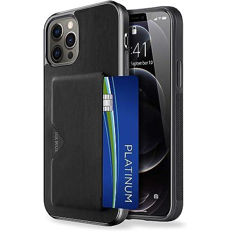 【背面カード収納付】 iPhone 12 ケース iPhone 12 Pro ケース カード収納 上質な手触り アイフォン 12 アイフォン 12 プロ カバー 耐衝撃 軽量 薄い IC OWLGuardian スマホケース (iPhone 12/ iPhone 12 Pro ブラック)