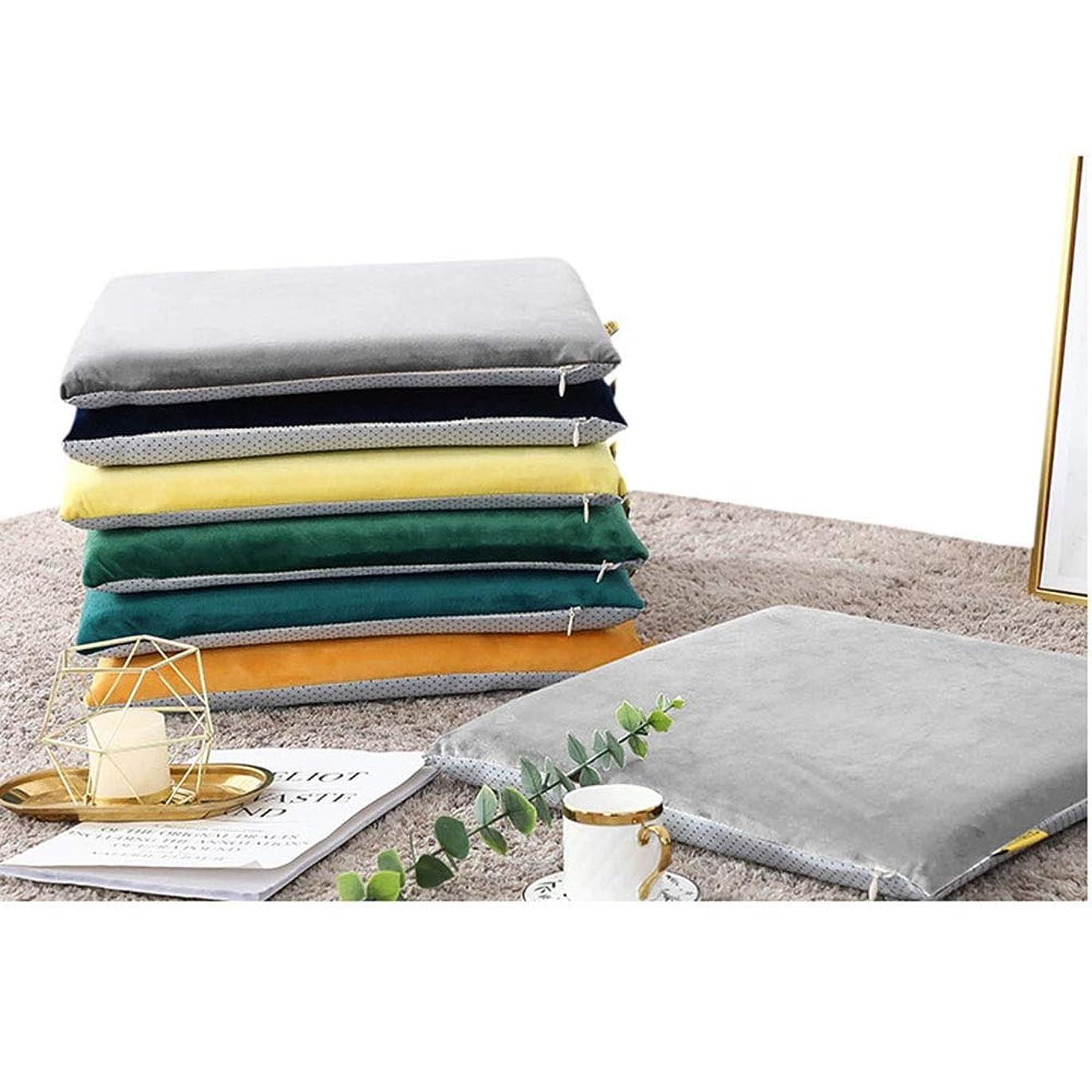 天才内訳予知ESTELLEFチェアパッドスクエアメモリコットンクッションチェアクッションソフト厚くするシートパッドクッション枕オフィス用、家庭用、車用 (Color : Navy, Size : 17.7*17.7in)