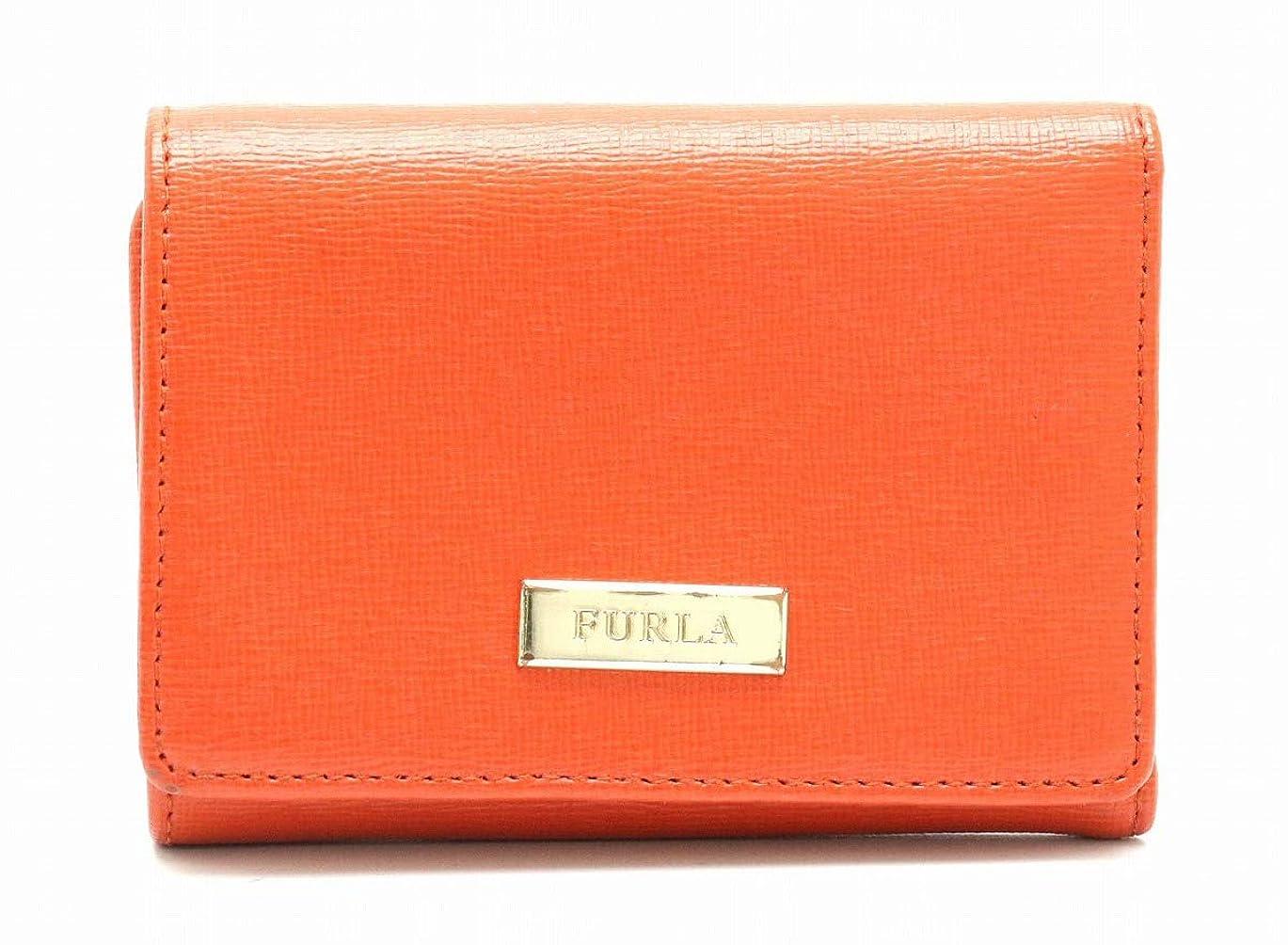引き出しジレンマ授業料[フルラ] FURLA Wホック 3つ折財布 型押しレザー オレンジ ゴールド金具 [中古]