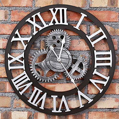 BANNAB Reloj de Pared de Madera Grande, Relojes de Cuarzo Vintage silenciosos Dorados industriales para Sala de Estar, salón, Bar, 48,3 cm, Estilo Romano Plateado