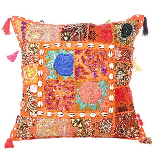 Eyes of India - Colorato Decorativo Divano Copriletto Patchwork Cuscino Divano Cuscino Cover Custodia Bohémien Accento Indiano Boho Chic Fatto a Mano Cover - Arancione, 20 X 20 in. (50 X 50 cm)
