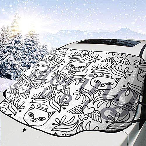 Hiram Cotton Car Sunshade Parabrisas Coche Gato Enrejado