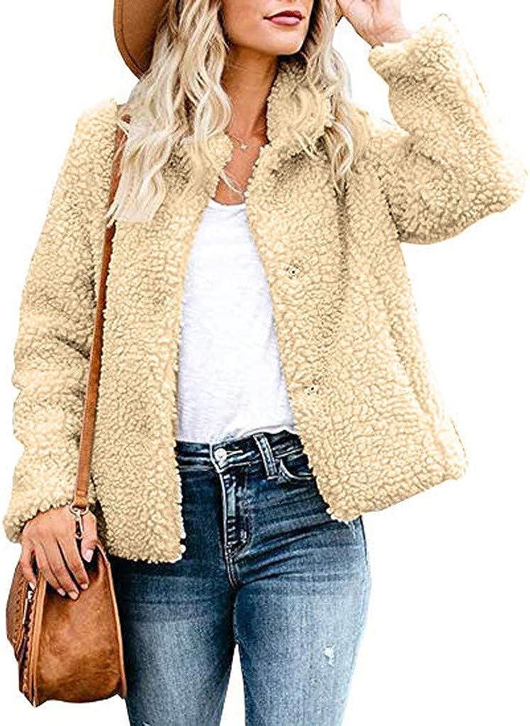 AKIMPE Women's Fuzzy Jacket Faux Fur Coat Zip up Cardigan Open Front Suede Teddy Bear Fluffy Sherpa Outwear (Khaki 2, Medium(US 8/10) /Tag L)