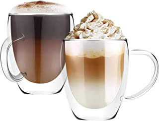 Insulated Coffee Mugs, 8 OZ, Set of 2, Double Wall Glass Coffee Cups With Handle Espresso Latte Cappuccino or Tea Cup (250...