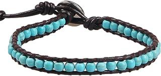 Kelitch, braccialetto in pelle naturale con cristalli di agata e perline per donne e uomini