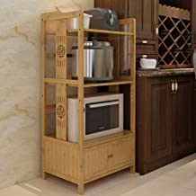 Kitchen Shelves 3/4 Layer of Wood Multifunction Oven Storage Rack for Kitchen