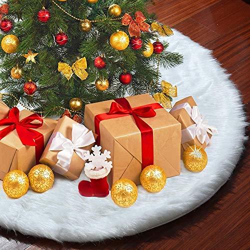 UMYMAYDO1 Gonne per Alberi di Natale,Tappeto albero di Natale,peluche coperta rotonda in pelliccia sintetica bianca neve copri piedi Natale,per decorazioni natalizie feste di Capodanno (48''/122cm)
