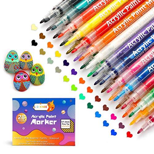 Acrylic Paint Mark, 28 Colors Permanent Paint Art Kit, Rock Painting Pens for Pebble Ceramic Glass Wood Metal Canva Scrapbooking Crafts DIY Photo Album
