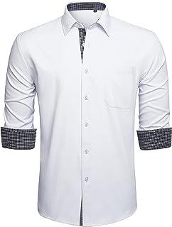 HISDERN Originale Camicia da Uomo Vestibilita Regolare Tinta Unita in Cotone Maniche Lungo Business Camicia per Casual Mat...