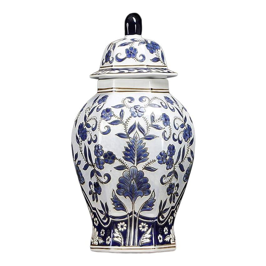 みなさん浴再現する青と白の磁器の花瓶の装飾、ストレージジャーキャンディスナックボックスジュエリー収納ボックス工芸オーナメント (Size : 36cm)