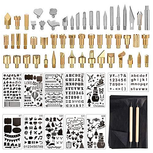 Kit Accessori Pirografia Legno, 53 Pezzi Penna Pirografia Punte,12 Stencil, 10 Carta di Trasferimento Saldatore Convertitore, per Pelle/UtensiliElettrici/Intagliare/Bruciare/Goffrare