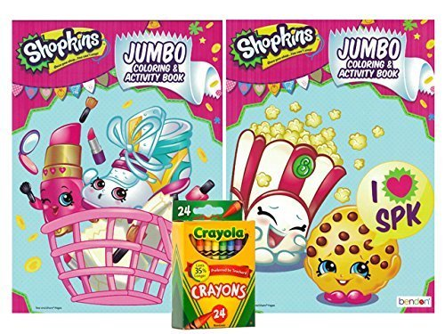 Shopkins Party Favor Set ~Jumbo Coloring and Activity Books (Set of 2) ~ Crayola Crayons 24ct!